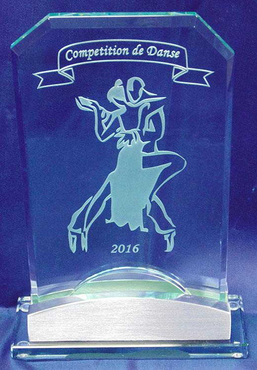 Gravure de trophée de verre